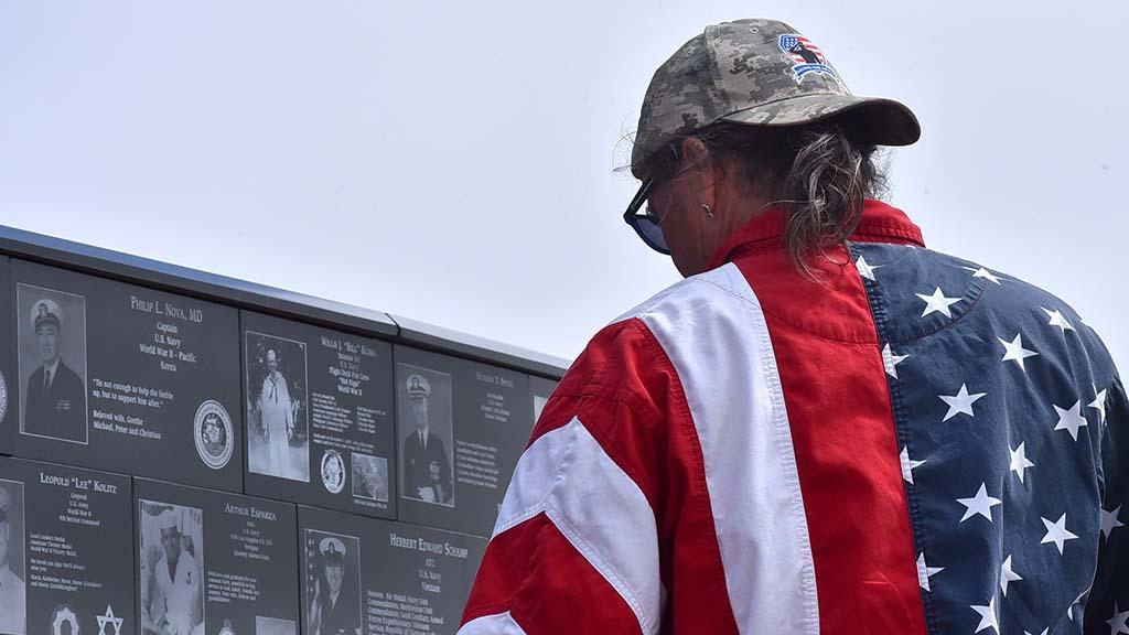 Veterans and civilians paused to recognize veterans at Mt. Soledad National Veterans Memorial.