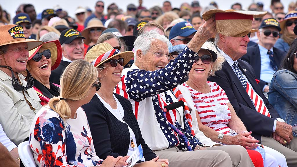 An honored guest tips his hat as he is introduced at the Mt. Soledad Memorial Day ceremony.