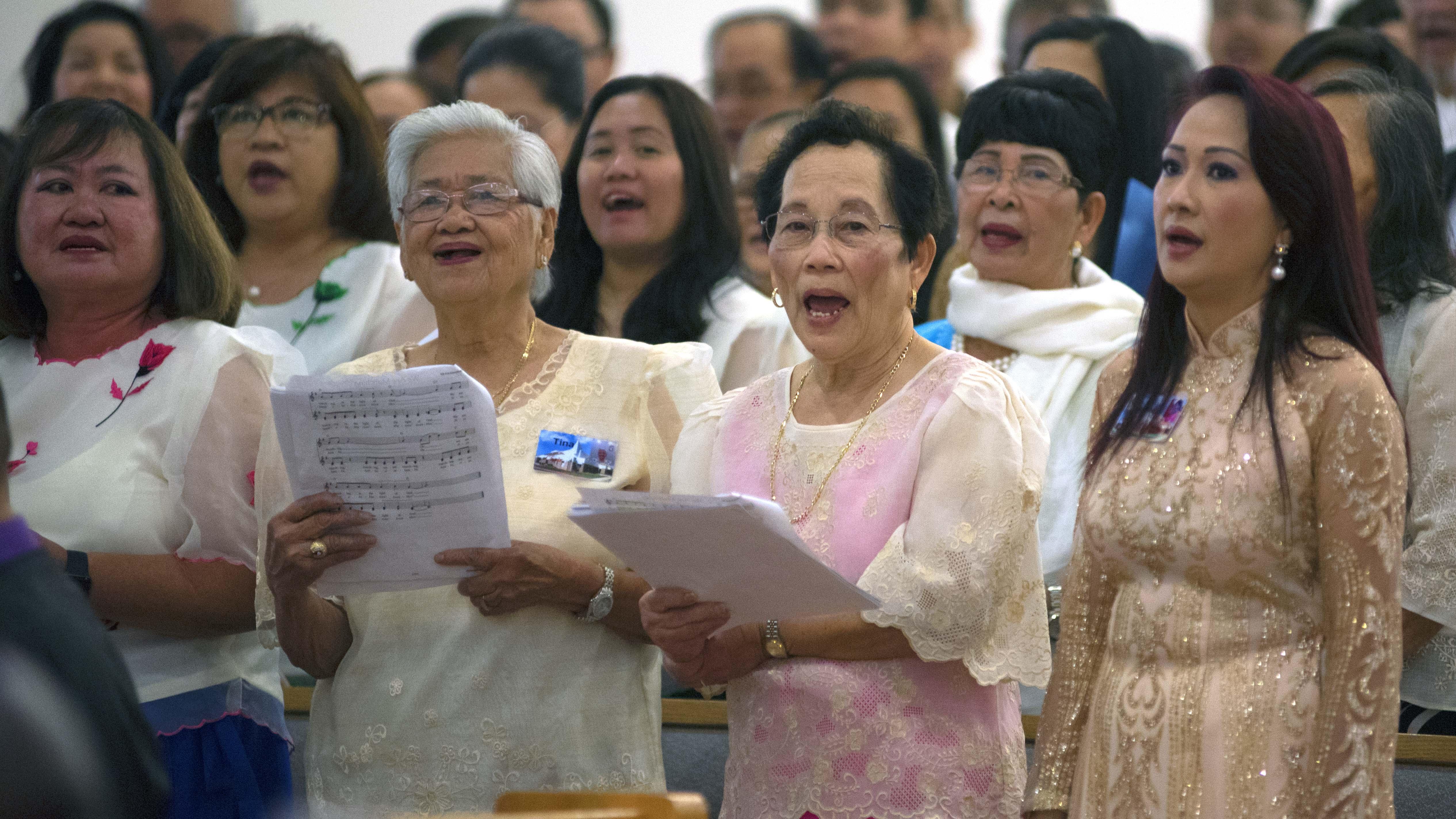 A multi-cultural choir sang during the Mass.