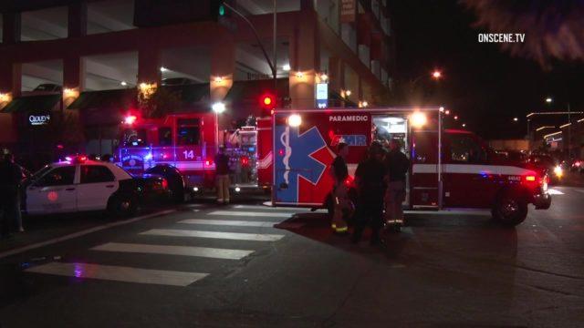 Injured pedestrian in ambulance