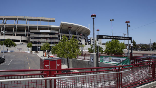 The SDCCU Stadium in Mission Valley is shown on May 15, 2018, from the trolley line that passes through the 166-acre site.