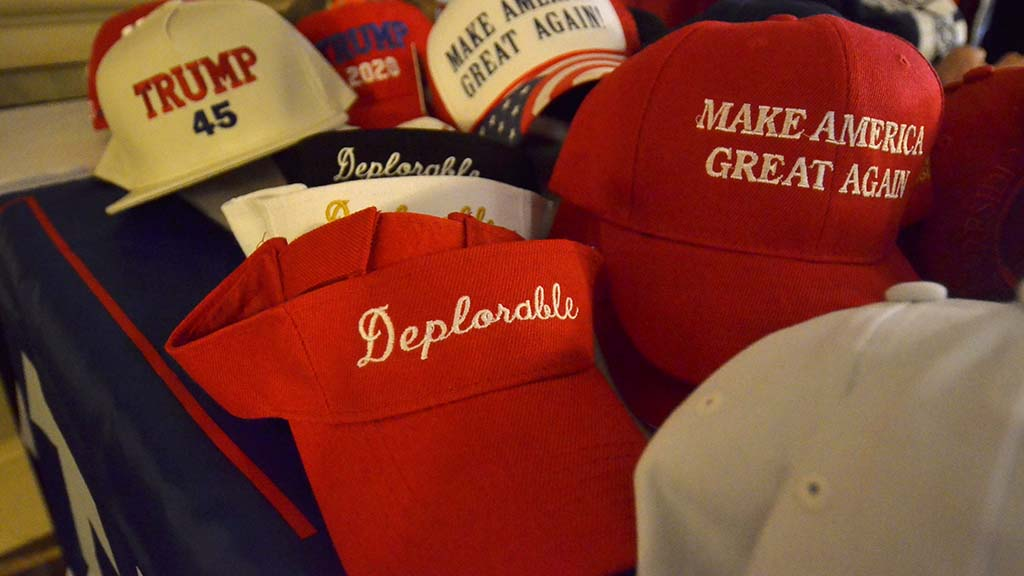 Political buttons, shirts and hats supporting the president were for sale in the hall at the California Republican Party Convention.