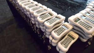 Electronic devices were readied for voting for Republican endorsements.