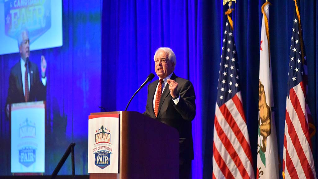John Cox, candidate for state attorney general, speaks at the California Republican Party Convention in San Diego.