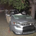 Wreckage of car possibly involved in street racing