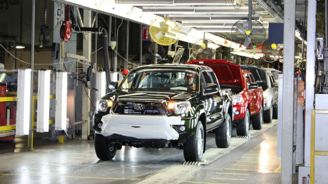 Toyota trucks on the assembly line in Baja California.