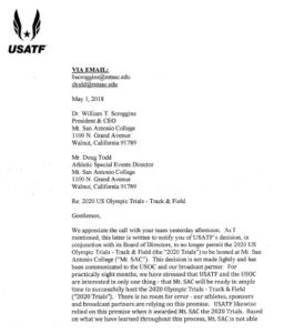 USATF letter to Mt. SAC officials on withdrawal of 2020 Olympic Trials. (PDF)
