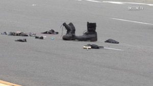 Debris including boots was left at scene of shooting.