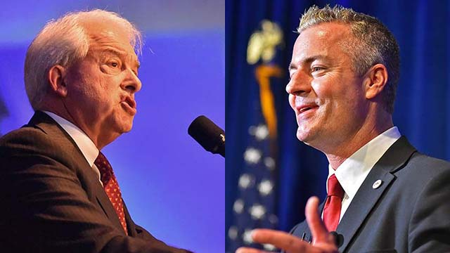 Republican candidates for governor John Cox (left) and Travis Allen.
