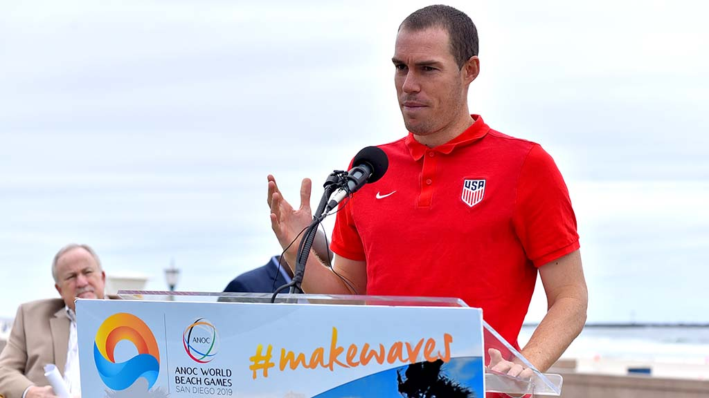 U.S. Beach Soccer team star Nick Perera of Carlsbad spoke during a half-hour event.