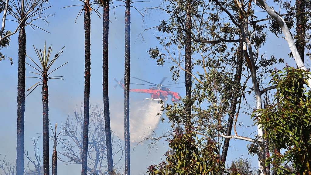A helicopter drops a load of water on a blaze in Del Cerro.