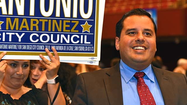 Antonio Martinez, the District 8 candidate for San Diego City Council joins supporters at Golden Hall.