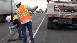 Caltrans crew making repairs