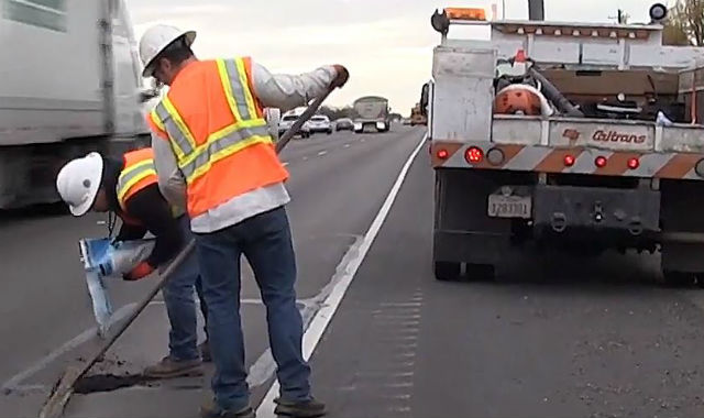 Caltrans crew making repairs