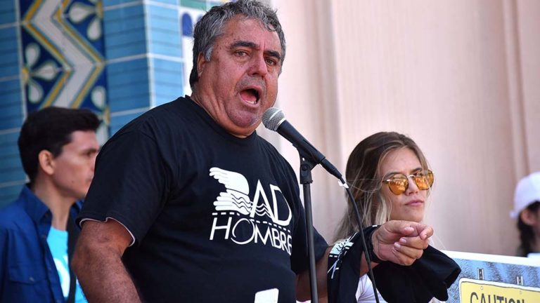 "Border Angels founder Enrique Morones called President Donald Trump ""pure evil"" in a talk at Waterfront Park."