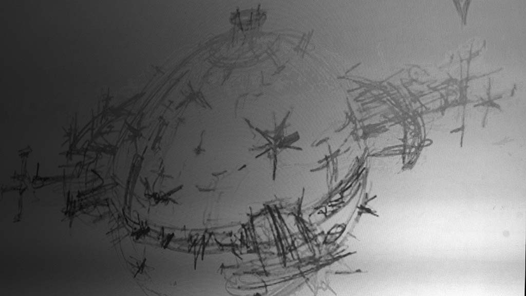 An early conceptual drawing of the Star Wars Death Star was shown during a talk by its designer, Colin Cantwell.