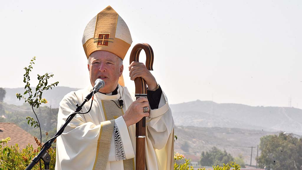 San Diego Bishop Bishop Robert McElroy with Tijuana hills in the background speaks before the Jesuit ordination.
