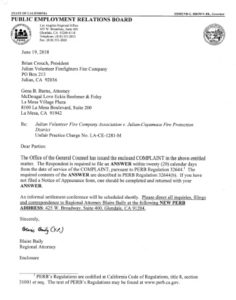 PERB complaint against the Julian-Cuyamaca Fire Protection District.