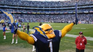 Dan Jauregui as Boltman once had a stint as the official San Diego Chargers mascot.