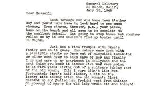 L. Ron Hubbard wrote his old friend Ruusell Hays from El Cajon in July 1948.