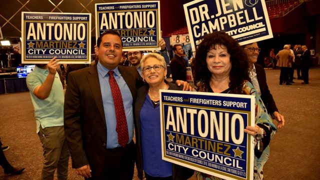 Antonio Martinez, the District 8 candidate for San Diego City Council, greeted District 2 council hopeful Jen Campbell at Golden Hall.