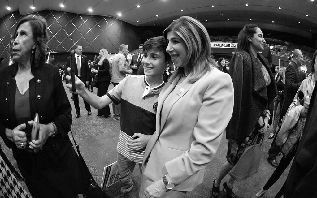 District Attorney Summer Stephan poses for selfie with her nephew Trent Fallon, 13, of Carmel Valley Middle School.
