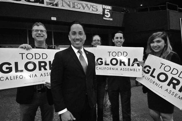 Democratic Assemblyman Todd Gloria made the media rounds at Golden Hall as he easily won re-election in the 78th District.