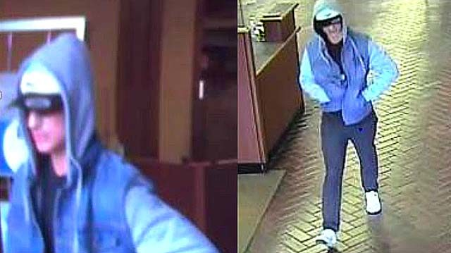 Images from Chase Bank surveillance video of bank robber.