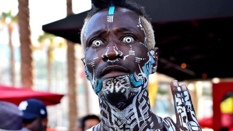 Rio Sirah, a body painter, is Kid Herzi near Comic-Con.