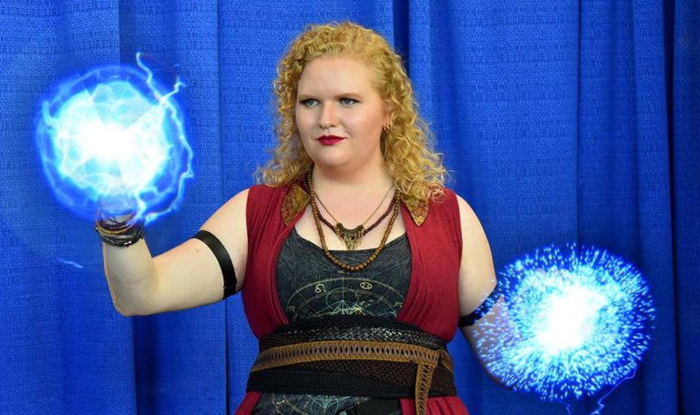 Melissa Troutt, a Disney imagineer, entertained fellow Comic-Con attendees with her programmed LED fans various with images.