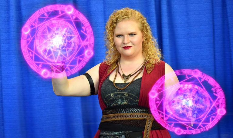 Melissa Troutt of Montrose, a Disney imagineer, programmed LED fans with images to show fellow Comic-Con attendees.