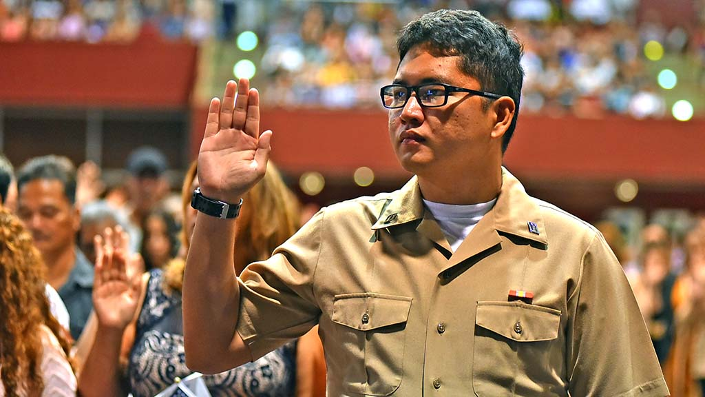 Jez Marayag was one of three military members at the ceremony who became citizens through their service.
