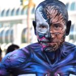Yasha Yothi portrays Venom near Comic-Con.