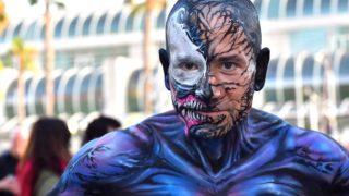 Yasha Yothi portrays Venom near Comic-Con.