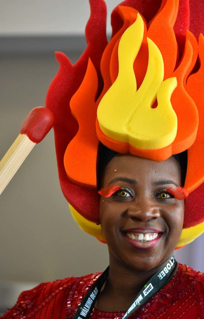 "Towela Nyirenda of Seattle dresses as a flame princess of ""Adventure Time."""