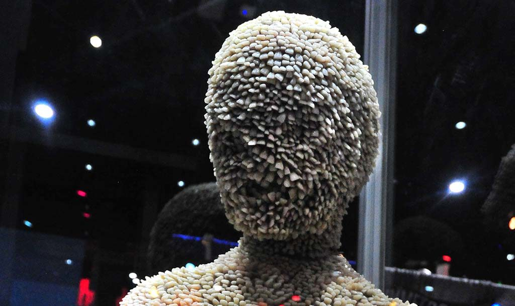 A monster made of human teeth is part of a promo for Shudder which specializes in scary movies.