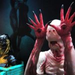 A prototype of the character from The Shape of Water (right) and other creatures are in a ECC Elite Creature Collection.
