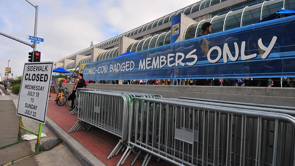 Only attendees with badges are allowed in the area in front of the San Diego Convention Center this year.