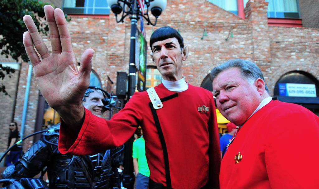 Paul Forest as Mr. Spock and Daniel Golden as Capt. Kirk greet people on Fifth Avenue near Comic-Con.