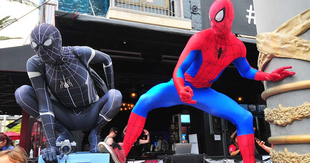 Spidermen Chase Zarate (left) and Josh Florez team up to keep the convention center area safe.