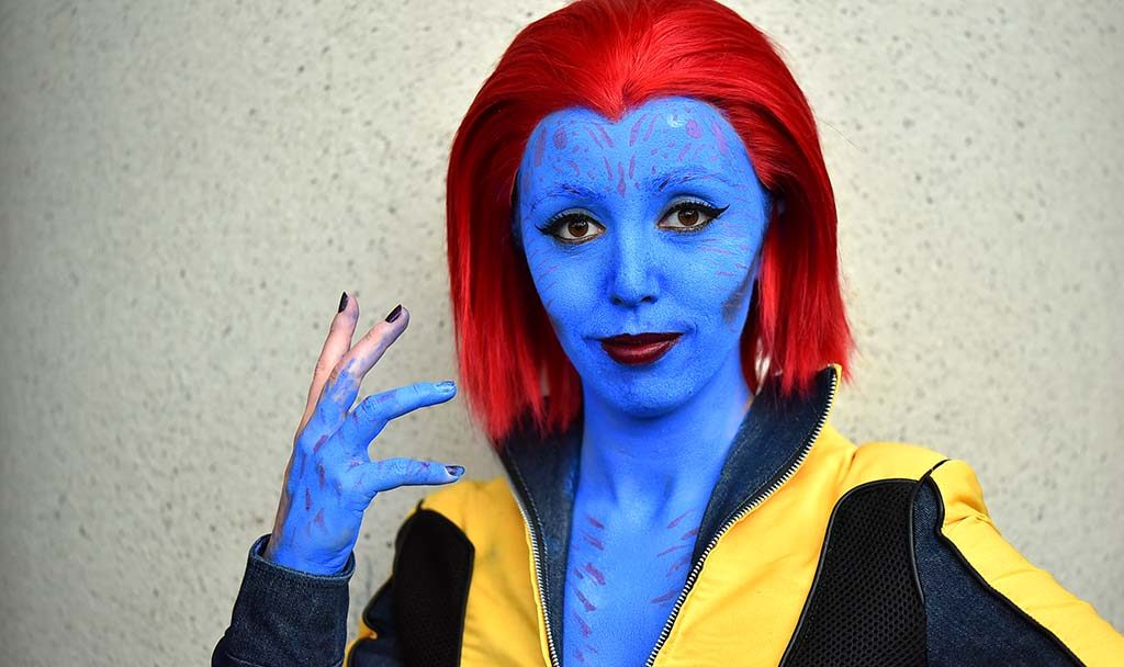 Valerie Snow of San Diego is Mystique from X-Men.