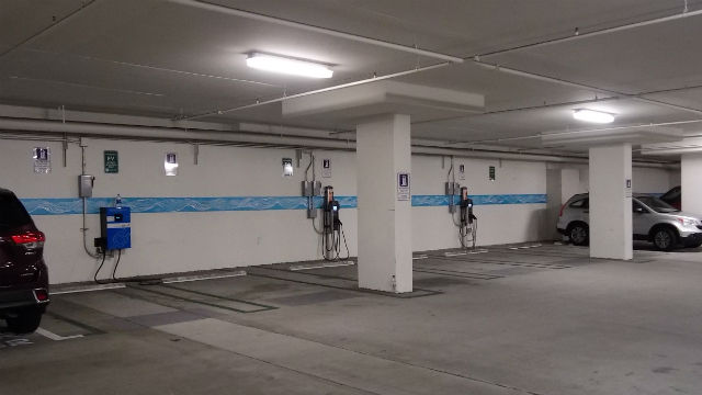Unused electric chargers under San Diego County Administration Center