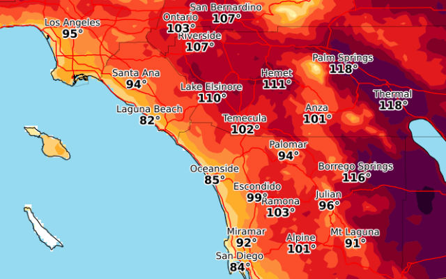 Forecast Highs On Tuesday