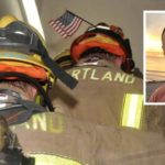 Heartland firefighters at 9/11 memorial stair climb. Mike Chasin (inset)