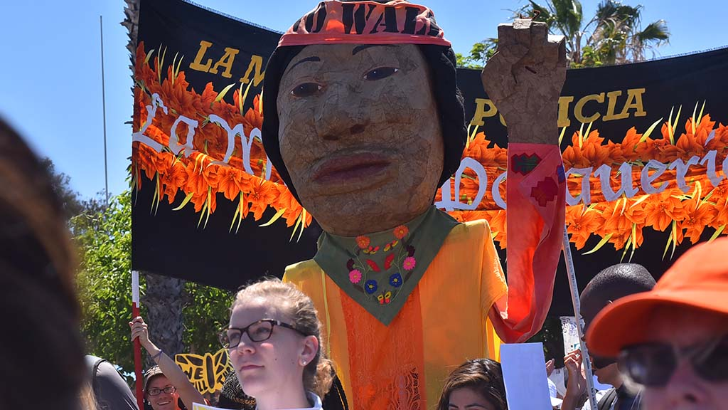 Puppets were carried down National Avenue in Barrio Logan.