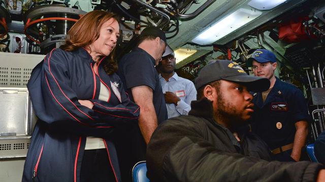 Kamala Harris aboard submarine
