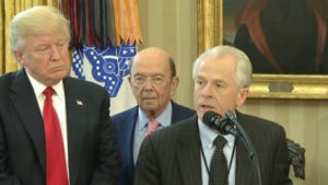 Peter Navarro with Wilbur Ross and President Trump