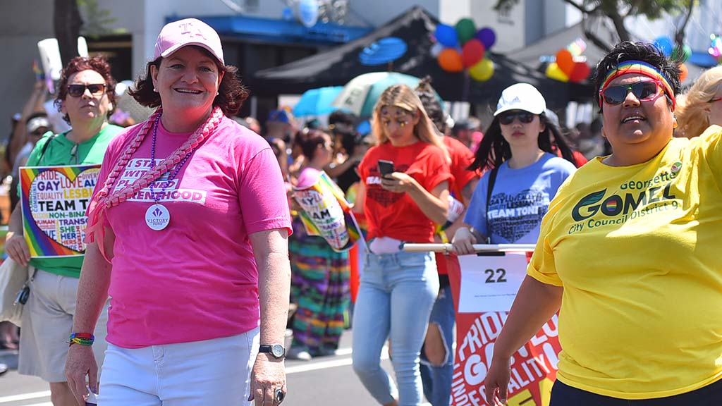 State Senate President Toni Atkins (left) and City Councilwoman Georgette Gomez participate in the parade.