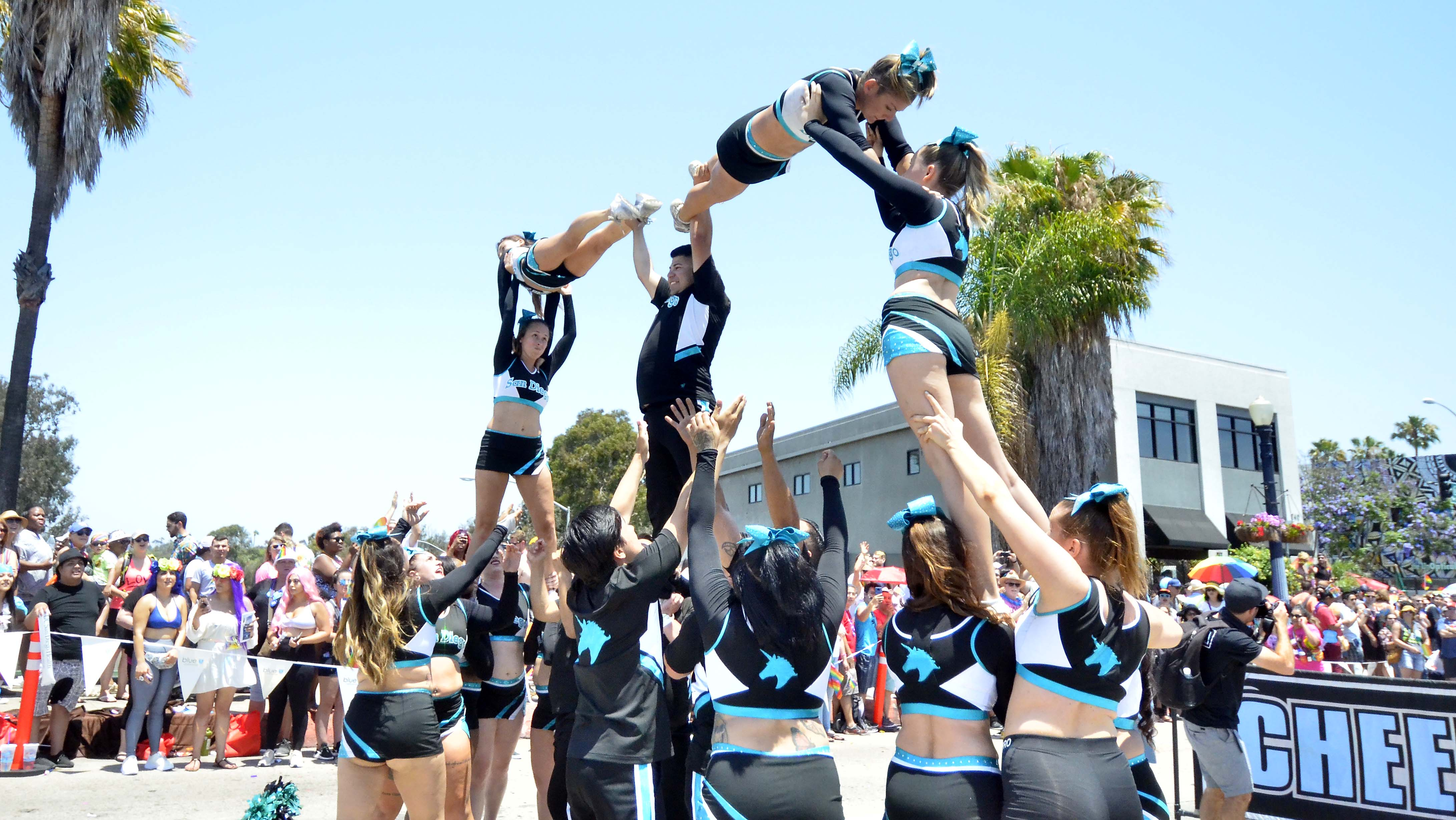 Cheer LA performed some maneuvers during the parade.