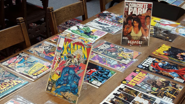 Comic book display at SDSU